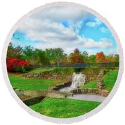 Round Beach Towel featuring the photograph By The Waterfall by Kathy Baccari