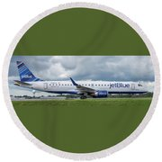 Round Beach Towel featuring the photograph Byo Blue by Guy Whiteley