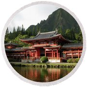 Round Beach Towel featuring the photograph Byodo-in Temple, Oahu, Hawaii by Mark Czerniec