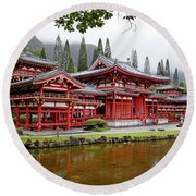 Byodo-in Temple Oahu Round Beach Towel