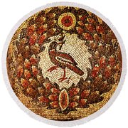 Round Beach Towel featuring the digital art Byzantine Bird by Asok Mukhopadhyay