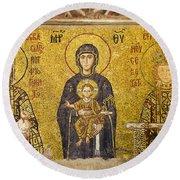 Byzantine Mosaic In Hagia Sophia Round Beach Towel