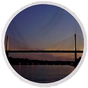 C And D Canal Bridge Round Beach Towel by Ed Sweeney