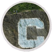 C Rock Of Columbia University Round Beach Towel by Jose Rojas
