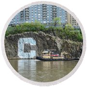 C Rock With Tug Round Beach Towel