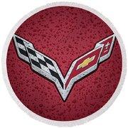 C7 Badge Red Round Beach Towel