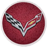 C7 Badge Red Round Beach Towel