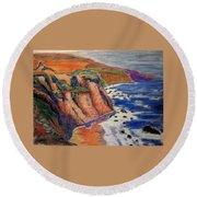 Ca Coastal Sketch Round Beach Towel