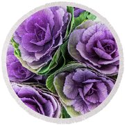 Cabbage Flower Round Beach Towel