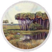 Cabbage Palm Hammock Round Beach Towel by Laurie Hein