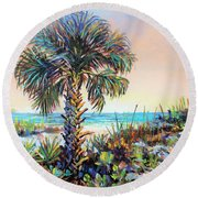 Cabbage Palm On Siesta Key Beach Round Beach Towel by Lou Ann Bagnall