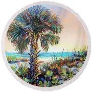 Cabbage Palm On Siesta Key Beach Round Beach Towel