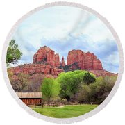 Round Beach Towel featuring the photograph Cabin At Cathedral Rock Panorama by James Eddy