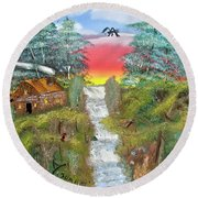 Cabin By The Falls Round Beach Towel