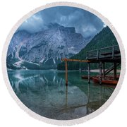 Cabin By The Lake Round Beach Towel