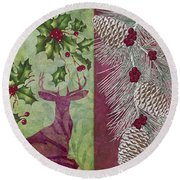 Cabin Christmas I Round Beach Towel