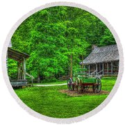 Round Beach Towel featuring the photograph Cabin Fever Great Smoky Mountains Art by Reid Callaway