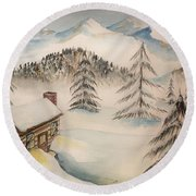 Cabin In The Rockies Round Beach Towel