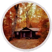 Round Beach Towel featuring the painting Cabin In The Woods P D P by David Dehner