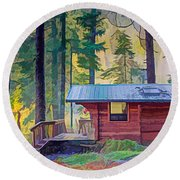 Cabin In The Woods Round Beach Towel