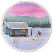 Cabin On A Frozen Lake Round Beach Towel