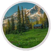 Cabin On The Hill Round Beach Towel