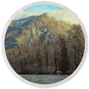 Cabin On The Skagit River Round Beach Towel