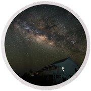 Cabin Under The Milky Way Round Beach Towel