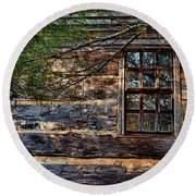 Round Beach Towel featuring the photograph Cabin Window by Joanne Coyle
