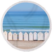 Cabins Round Beach Towel by Delphimages Photo Creations
