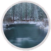 Round Beach Towel featuring the photograph Cabins On The Metolius by Cat Connor