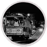 Cable Car At Night - San Francisco Round Beach Towel