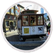 Cable Car Turnaround Round Beach Towel by Steven Spak