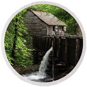 Round Beach Towel featuring the photograph Cable Grist Mill by Andrea Silies