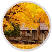 Round Beach Towel featuring the photograph Golden Cable Mill by Geraldine DeBoer