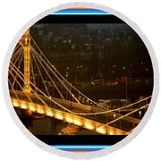 Cable-stayed Gold Sparkle Bridge At Night In London Round Beach Towel