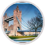 Cable-stayed Walk Way Over Bridge In London Round Beach Towel