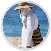Cabo Beach Hawker. Round Beach Towel