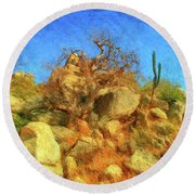 Cabo Park Landscape Round Beach Towel by Gerhardt Isringhaus