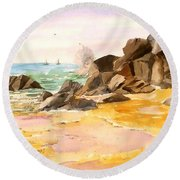 Cabo San Lucas Round Beach Towel by Larry Hamilton