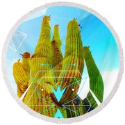 Round Beach Towel featuring the mixed media Cacti Embrace by Michelle Dallocchio