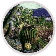 Round Beach Towel featuring the photograph Cacti by Lori Seaman