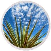 Cactus And Blue Sky Round Beach Towel