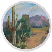 Round Beach Towel featuring the painting Cactus By The Red Mountains by Diane McClary