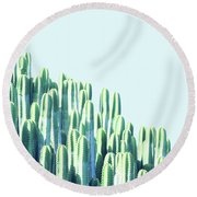 Cactus By The Sea Round Beach Towel