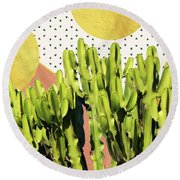 Cactus Dream Round Beach Towel