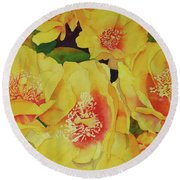 Cactus Flowers Round Beach Towel