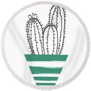 Cactus In A Green Pot- Art By Linda Woods Round Beach Towel