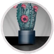 Cactus In Bloom I  Round Beach Towel