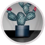Cactus In Bloom II Round Beach Towel